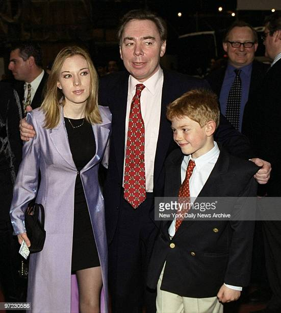 Andrew Lloyd Webber and children Imogen and Alastair arrive for opening night of Webber's Broadway play Jesus Christ Superstar at the Ford Center for...
