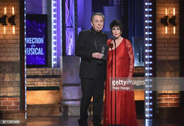 Andrew Lloyd Webber and Chita Rivera present an award onstage during the 72nd Annual Tony Awards at Radio City Music Hall on June 10 2018 in New York...