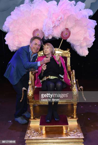Andrew Lloyd Webber and Dame Gillian Lynne attend renaming of the New London Theatre to the Gillian Lynne Theatre on June 22 2018 in London England