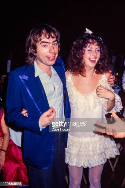 Andrew Lloyd Webber and girlfriend Sarah Brightman during the 1000th performance of the musical Cats in October 1983