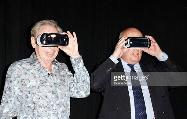 Andrew Lloyd Webber and Julian Fellowes appear to unveil his 360 Music Video For You're In The Band at the Winter Garden Theatre on October 14 2015...
