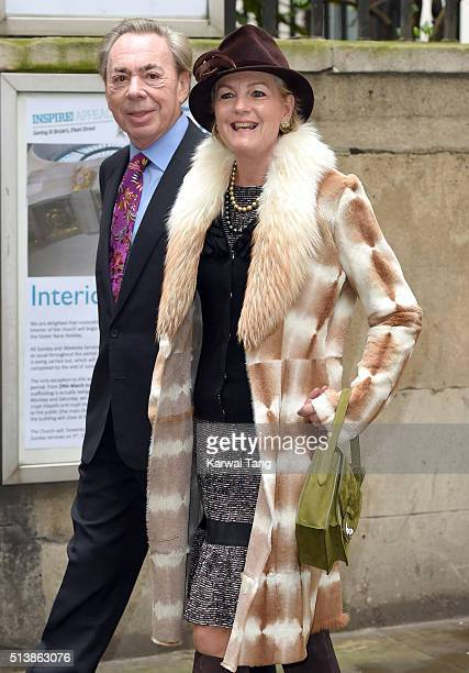Andrew Lloyd Webber and Madeleine Gurdon arrive for the wedding of Jerry Hall to Rupert Murdoch at St Brides Church on March 5 2016 in London England