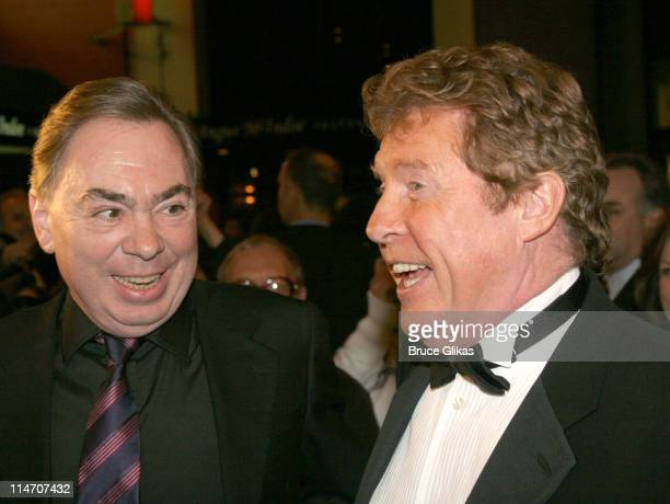 """Andrew Lloyd Webber and Michael Crawford during """"Phantom of the Opera"""" Becomes the Longest-Running Show on Broadway at The Majestic Theatre in New..."""