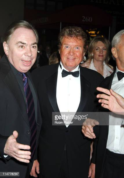 Andrew Lloyd Webber and Michael Crawford during Phantom of the Opera Becomes the LongestRunning Show on Broadway at The Majestic Theatre in New York...