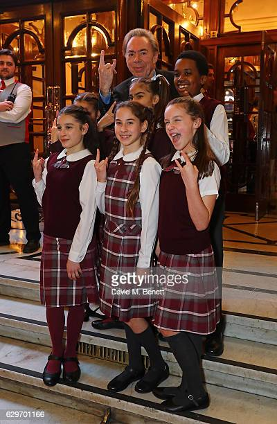 Andrew Lloyd Webber and the cast of School of Rock attendthe Opening Night performance of 'Cinderella' at London Palladium on December 14 2016 in...
