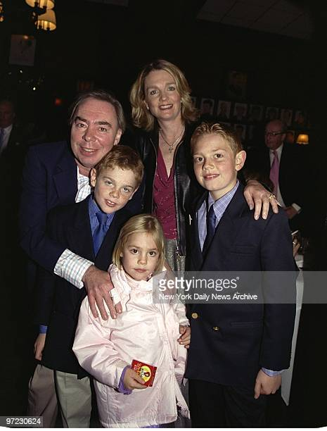 Andrew Lloyd Webber arrives with his wife Madeline sons William and Alastair and daughter Isabella at Sardis for the opening night party for the...