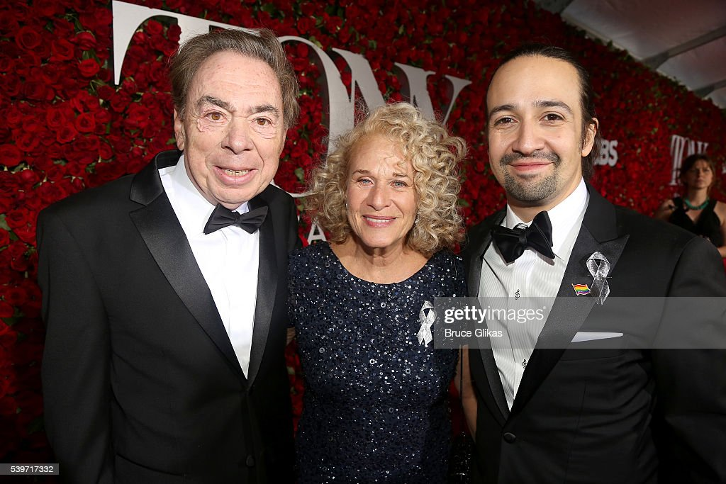 Andrew Lloyd Webber, Carole King, and Lin-Manuel Miranda attend the 70th Annual Tony Awards - Arrivals at Beacon Theatre on June 12, 2016 in New York City.