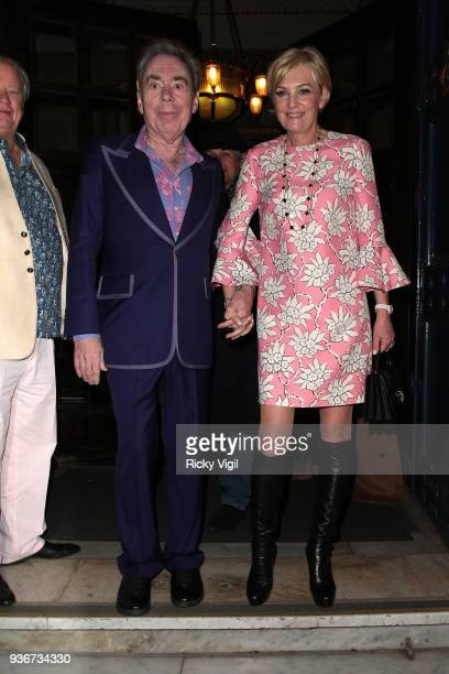 Andrew Lloyd Webber celebrates his birthday party with wife Madeleine Gurdons at The Theatre Royal Drury Lane on March 22 2018 in London England