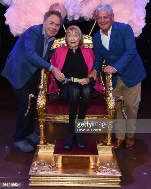 Andrew Lloyd Webber Dame Gillian Lynne and Cameron Mackintosh attend renaming of the New London Theatre to the Gillian Lynne Theatre on June 22 2018...