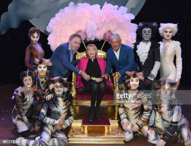 Andrew Lloyd Webber Dame Gillian Lynne and Cameron Mackintosh with CATS cast members attend the renaming of the New London Theatre to the Gillian...