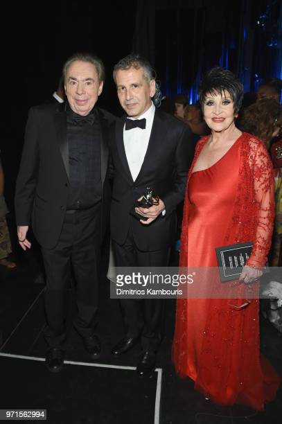Andrew Lloyd Webber David Cromer and and Chita Rivera attend the 72nd Annual Tony Awards at Radio City Music Hall on June 10 2018 in New York City