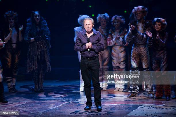 Andrew Lloyd Webber during curtain call of 'Cats' Broadway Opening at Neil Simon Theatre on July 31 2016 in New York City