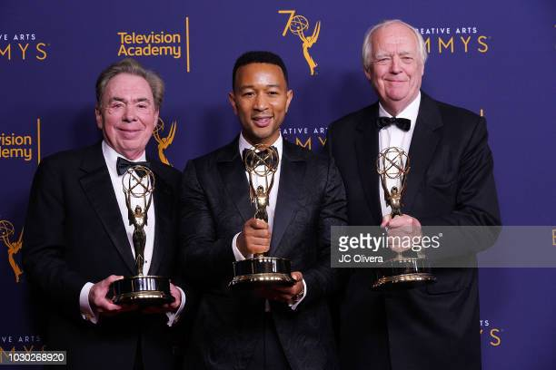 Andrew Lloyd Webber John Legend and Tim Rice winners of the award for outstanding variety special for 'Jesus Christ Superstar Live in Concert' pose...