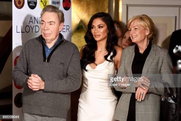 Andrew Lloyd Webber Nicole Scherzinger and Madeleine Gurdon attend the media launch of Andrew Lloyd Webber 'Unmasked The Platinum Collection' launch...