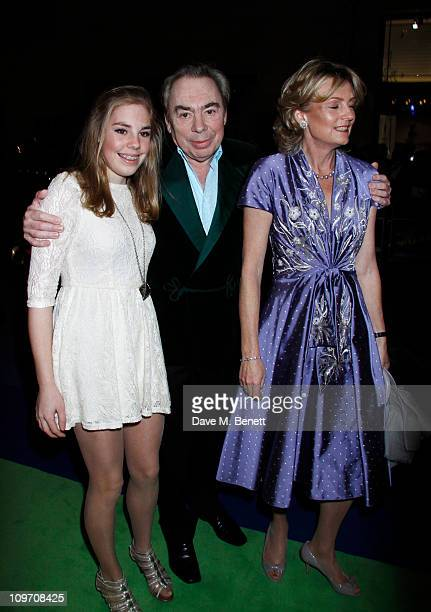 Andrew Lloyd Webber with his daughter Isabella and wife Madelaine attend the press night for Wizard Of Oz at the London Palladium on March 1 2011 in...