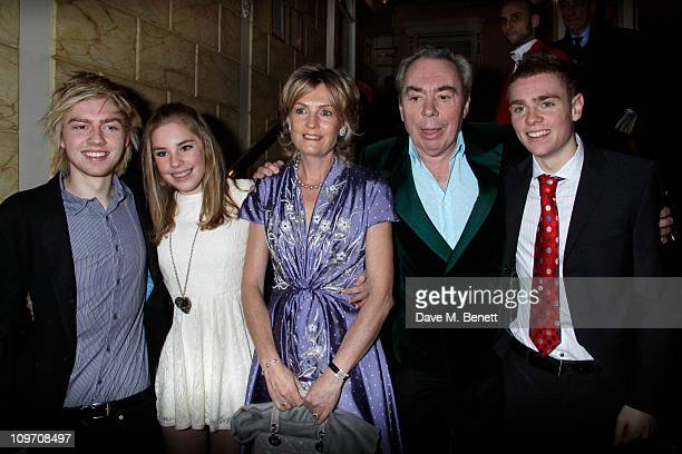 Andrew Lloyd Webber with his family William Isabella his wife Madelaine and Alastair attends the press night for Wizard Of Oz at the London Palladium...
