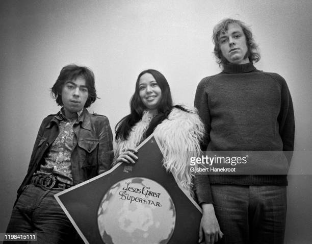 Andrew Lloyd Webber, Yvonne Elliman and Tim Rice promoting the musical 'Jesus Christ Superstar', London, 1970.