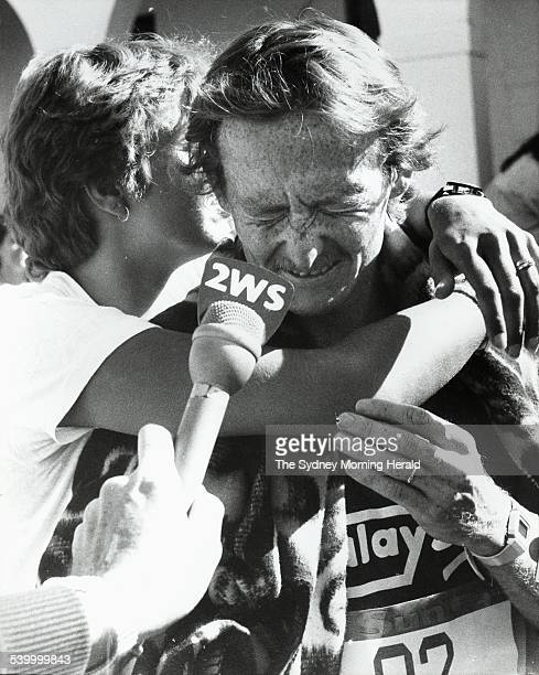 Andrew Lloyd wins the 1983 Sun City To Surf on 7 August 1983 and gets a hug from wife Lynn SMH SPORT Picture by JACKIE HAYNES