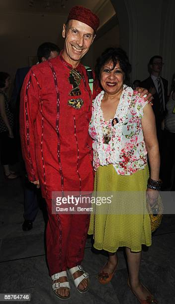Andrew Logan and Lela attend the private view of Gay Icons at National Portrait Gallery on June 30 2009 in London England