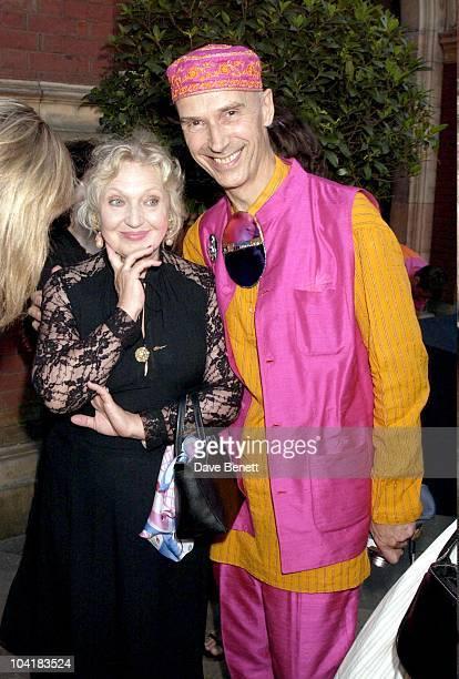 Andrew Logan With Ossie Clark's Widow Celia The Ossie Clark Retrospective At The Victoria Albert Museum In London