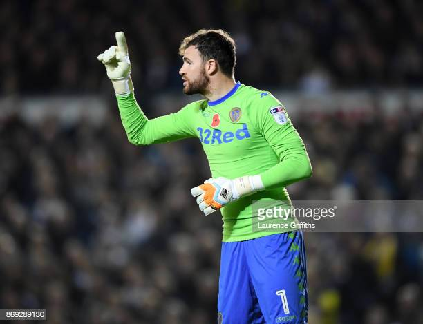 Andrew Lonergan of Leeds United looks on during the Sky Bet Championship match between Leeds United and Derby County at Elland Road on October 31...