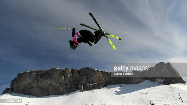 Andrew Longino of Canada competes in his qualification run 2 in Men's Freeski Halfpipe in Freestyle Skiing during day 12 of the Lausanne 2020 Winter...