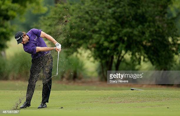 Andrew Loupe plays a shot on the 1st during the Final Round of the Zurich Classic of New Orleans at TPC Louisiana on April 27, 2014 in Avondale,...