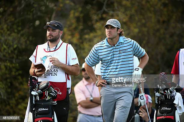 Andrew Loupe prepares to tee off on the 9th during Round Two of the Valero Texas Open at TPC San Antonio ATT Oak Course on March 28 2014 in San...