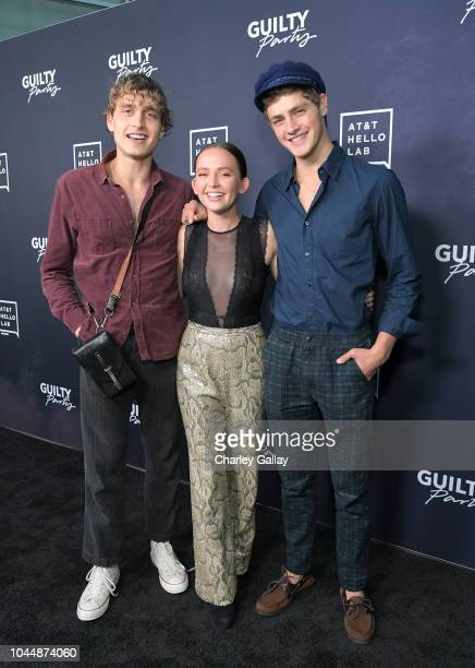 Andrew Lowe Alexis G Zall and Steffan Argus attend the 'Guilty Party History of Lying' Season 2 premiere at ArcLight Cinemas on October 2 2018 in...