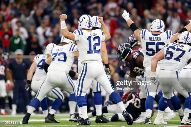 Andrew Luck of the Indianapolis Colts celebrates after drawing Jadeveon Clowney of the Houston Texans offsides in the fourth quarter at NRG Stadium...