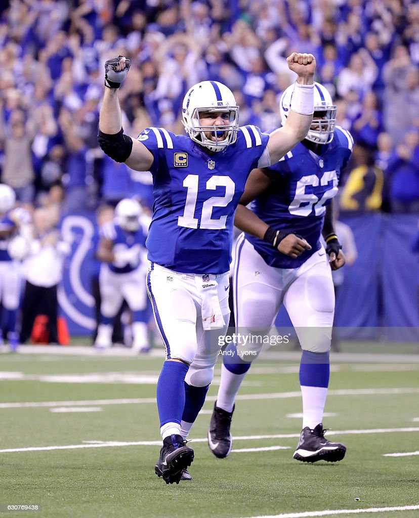 Andrew Luck #12 of the Indianapolis Colts celebrates after throwing the game winning touchdown durling the game against the Jacksonville Jaguars at Lucas Oil Stadium on January 1, 2017 in Indianapolis, Indiana.