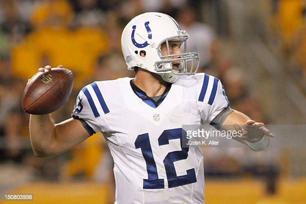 Andrew Luck of the Indianapolis Colts drops back to pass against the Pittsburgh Steelers during the game on August 19 2012 at Heinz Field in...