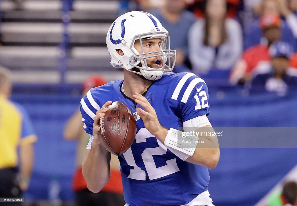 Andrew Luck #12 of the Indianapolis Colts drops back to pass during the game against the Kansas City Chiefs at Lucas Oil Stadium on October 30, 2016 in Indianapolis, Indiana.