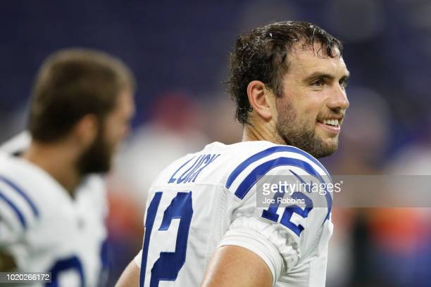 Joe Flacco of the Baltimore Ravens looks on in the second quarter of a preseason game against the Indianapolis Colts at Lucas Oil Stadium on August...