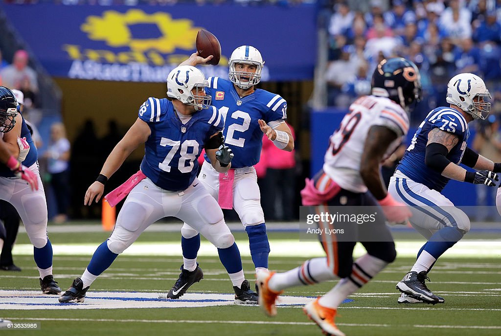 Andrew Luck #12 of the Indianapolis Colts passes the ball during the fourth quarter of the game agains the Chicago Bears at Lucas Oil Stadium on October 9, 2016 in Indianapolis, Indiana.