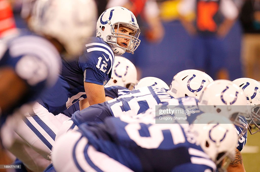 Andrew Luck #12 of the Indianapolis Colts prepares for a fourth quarter snap while playing the Miami Dolphins at Lucas Oil Stadium on November 4, 2012 in Indianapolis, Indiana. Indianapolis won the game 23-20.