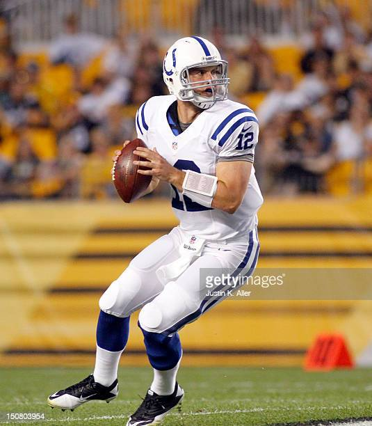 Andrew Luck of the Indianapolis Colts rolls out to pass against the Pittsburgh Steelers during the game on August 19 2012 at Heinz Field in...