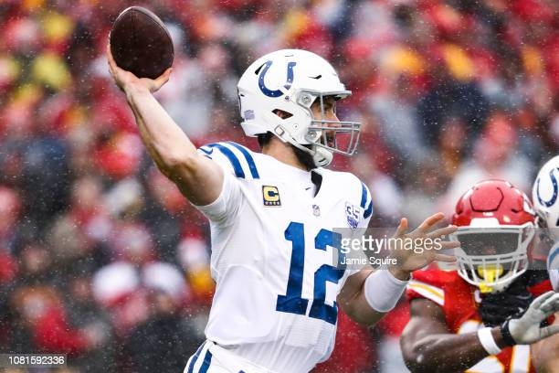 Andrew Luck of the Indianapolis Colts throws a pass against the Kansas City Chiefs in the first quarter of the game during the AFC Divisional Round...
