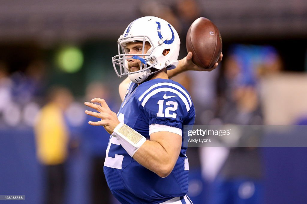Andrew Luck #12 of the Indianapolis Colts throws a pass before the game against the New England Patriots at Lucas Oil Stadium on October 18, 2015 in Indianapolis, Indiana.