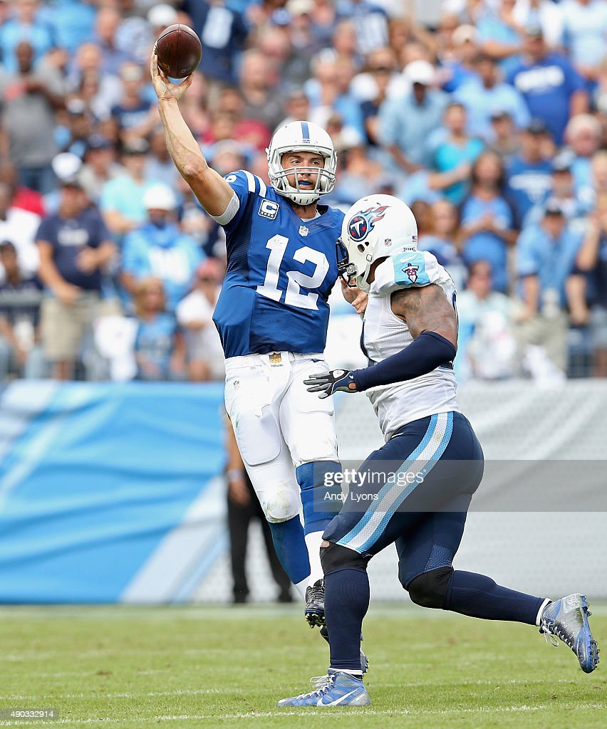 Andrew Luck #12 of the Indianapolis Colts throws a pass during the game against the Tennessee Titans at LP Field on September 27, 2015 in Nashville, Tennessee.