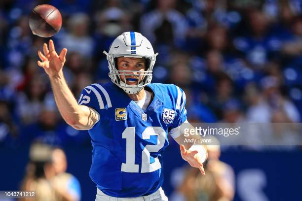 Andrew Luck of the Indianapolis Colts throws a pass in the 2nd quarter against the Houston Texans at Lucas Oil Stadium on September 30 2018 in...