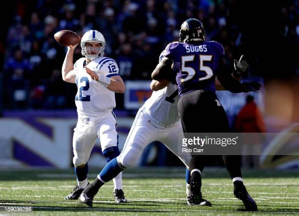 Andrew Luck of the Indianapolis Colts throws a pass in the first quarter against Terrell Suggs of the Baltimore Ravens during the AFC Wild Card...