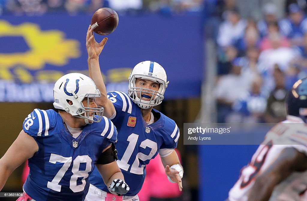 Andrew Luck #12 of the Indianapolis Colts throws the ball during the fourth quarter of the game against the Chicago Bears at Lucas Oil Stadium on October 9, 2016 in Indianapolis, Indiana.