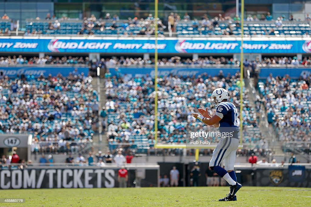 Andrew Luck #12 of the Indianapolis Colts walks off the field during the second quarter of the game against the Jacksonville Jaguars at EverBank Field on September 21, 2014 in Jacksonville, Florida.