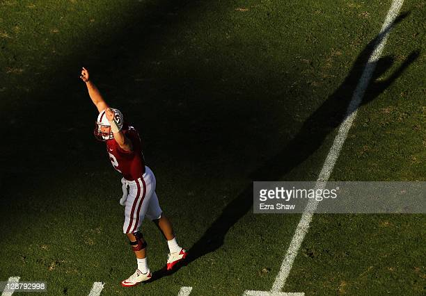 Andrew Luck of the Stanford Cardinal celebrates after the Cardinal scored a touchdown against the Colorado Buffaloes at Stanford Stadium on October 8...