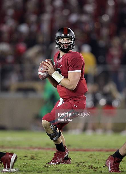 Andrew Luck of the Stanford Cardinal in action against the Notre Dame Fighting Irish at Stanford Stadium on November 26 2011 in Stanford California