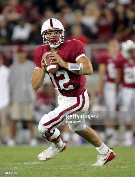 Andrew Luck of the Stanford Cardinal in action during their game against the San Jose State Spartans at Stanford Stadium on September 19 2009 in Palo...