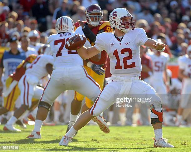 Andrew Luck of the Stanford Cardinal passes against the USC Trojans during the second half at the Los Angeles Memorial Coliseum on November 14 2009...