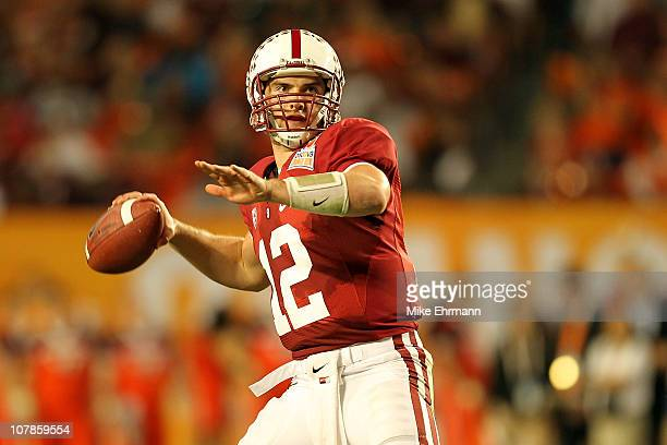 Andrew Luck of the Stanford Cardinal throws a pass against the Virginia Tech Hokies during the 2011 Discover Orange Bowl at Sun Life Stadium on...