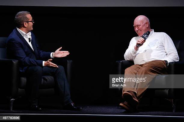 Andrew Luff of TimeZone speaks onstage with Hublot Chairman and President of LVMH Watch Division JeanClaude Biver at the Hublot celebration of the...
